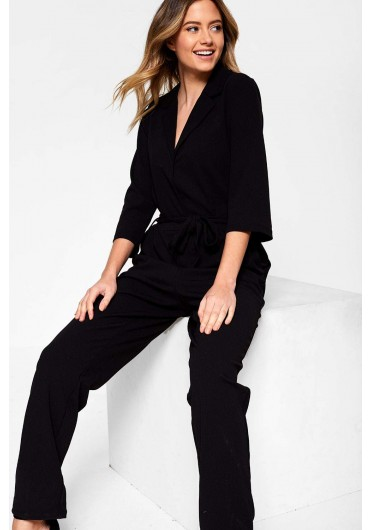 6b9329c35cb ... Cammy Jumpsuit with Self Belt in Black