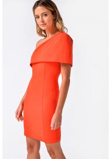 1972e12d0b Carol One Shoulder Cape Mini Dress in Orange ...