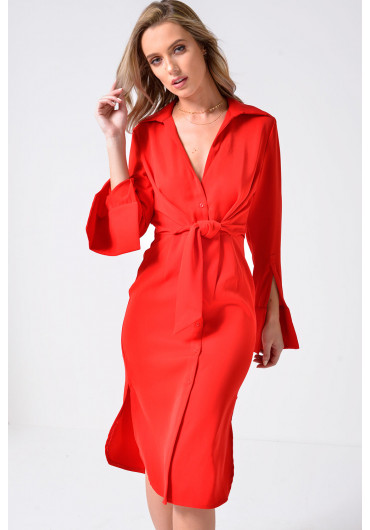 0cd6a1fe15 ... Lavish Alice Tie Front Shirt Dress in Red