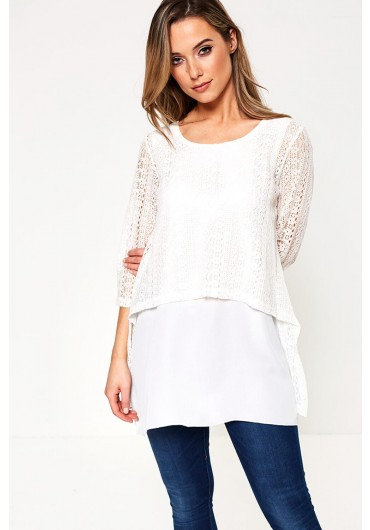 183cdbea482ae Calais Lace Overlay Top in White ...