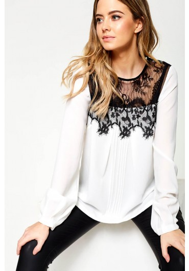 31becf55f417c ... Hailey Lace Top Blouse in White