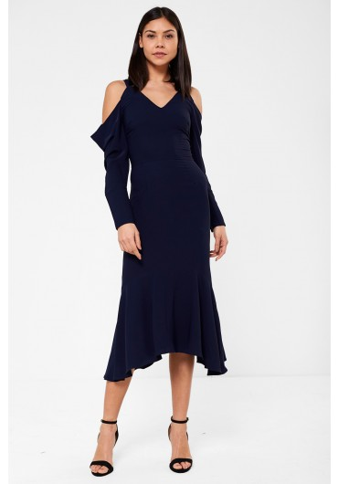 77508831f1a Lavish Alice Cold Shoulder Midi Dress in Navy ...