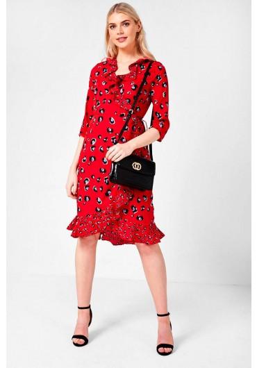 4d53230043d8e6 Leopard Print Wrap Midi Dress in Red ...