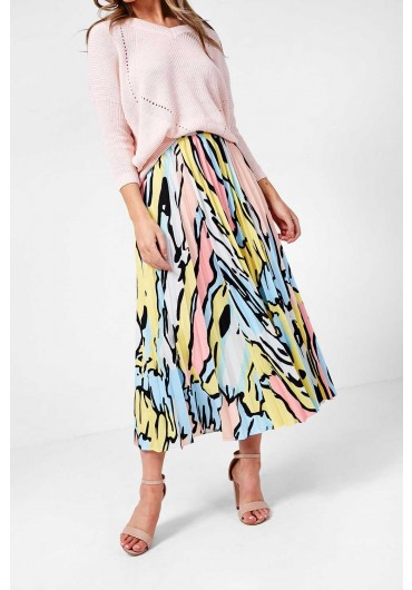e2ea06dcce1abc Leslie Camouflage Pleated Skirt in Yellow Leslie Camouflage Pleated Skirt  in Yellow