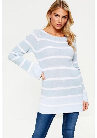 98675e1b479 ... Josefine Long Sleeve Knit Jumper in Baby Blue Stripe