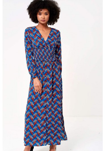 ... Charlie Long Sleeve Maxi Dress in Blue Geometric Print 1029fb38e