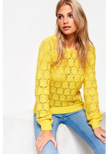 3847a5cdd0d Carrie Long Sleeve Open Stitch Jumper in Yellow ...