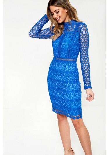 71242aa7992 ... Giuliana Long Sleeve Lace Dress in Blue