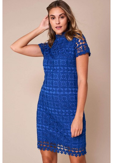 7e067d45091c Bowery High Neck Lace Pencil Dress in Royal Blue ...