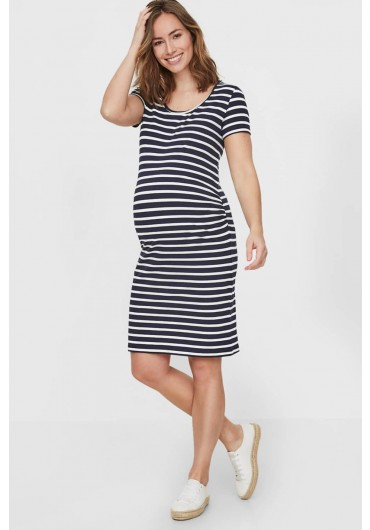 69be05ce7 ... Lea Maternity Short Sleeve Dress in Navy Stripe