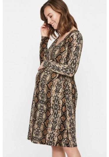 1cb3d546 ... Snake Maternity Long Sleeve Dress in Snake Print
