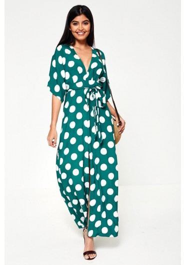 b9d4fb41bf Saskia Maxi Dress in Green Polka Dot ...