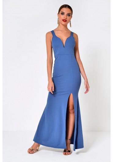 f87ce900b3c ... Freya Strappy Maxi Dress with Front Split in Blue