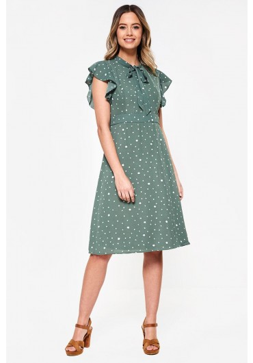 964aa582ebf56 Florrie Midi Dress in Green Dot Print ...