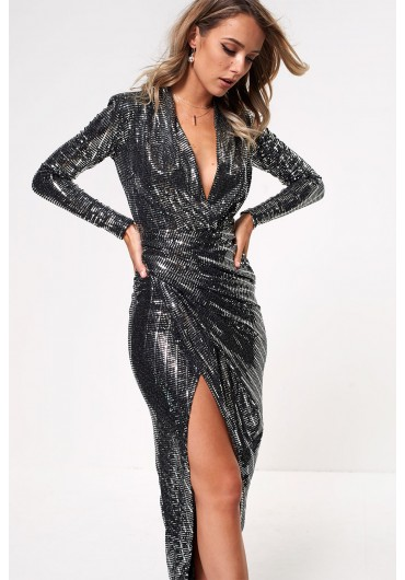 5efb08a71d ... Kim Deep V Midi Dress in Silver Sequin