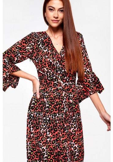 3db9dbe5cec Angelique Midi Wrap Dress in Red Animal Print ...