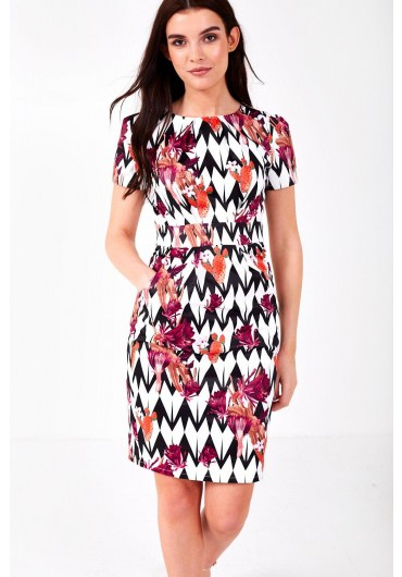 4e7c97f175ae ... Marley Multi Print Occasion Dress in White