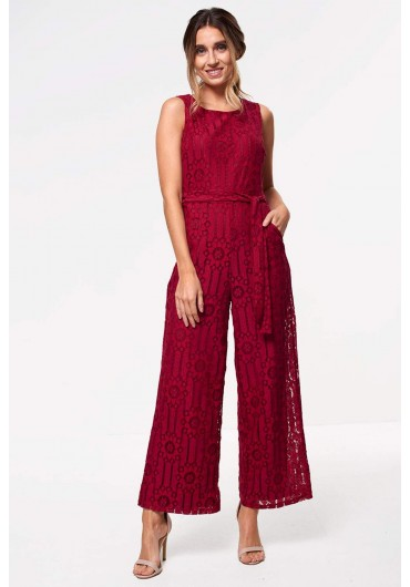 90a830fac7 Donna Occasion Crochet Jumpsuit in Wine Donna Occasion Crochet Jumpsuit in  Wine