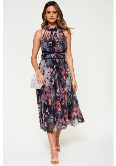 7bcdee9ad92d Hannah Occasion Midi Dress in Grey Floral Print ...