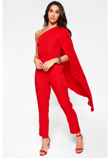 Lavish Alice One Shoulder Cape Tailored Jumpsuit in Red ... 1b1e5c003