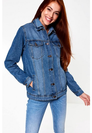 295ea875cda ... Ole Oversized Denim Jacket in Medium Blue