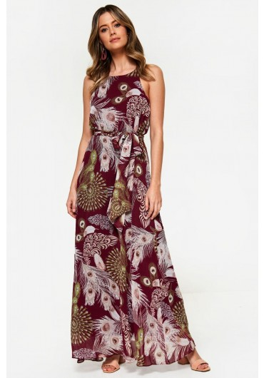 fa765fd9ff3caf ... Peacock Print Halterneck Maxi Dress in Wine