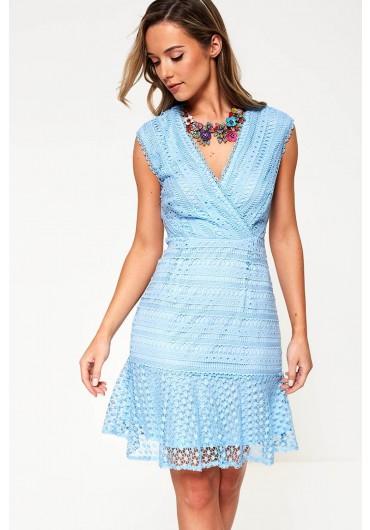 4789ba9f699 ... Crochet Peplum Hem Dress in Sky Blue