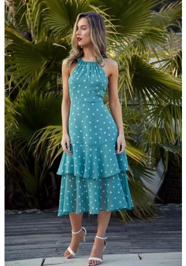 63213aa57c8 Polka Dot Halterneck Dress in Mint ...