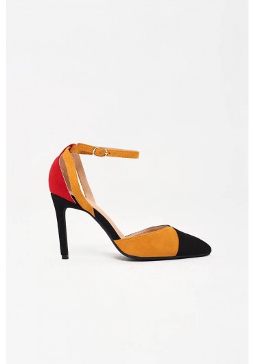 ec344e9384f ... Macie Ankle Strap Court Heels in Colour Block