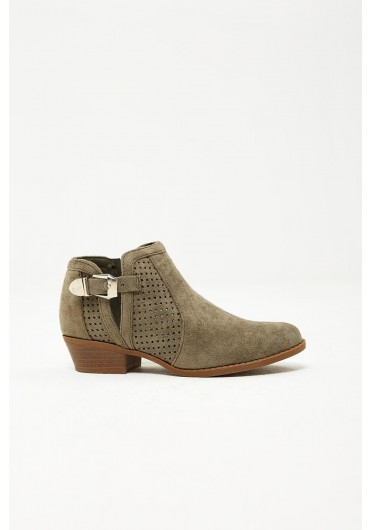 0119abab7b1f Tate Perforated Ankle Boots in Green Suede ...