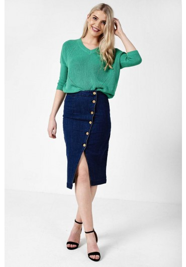 d0f91c28d0 Julie Button Front Denim Skirt ...