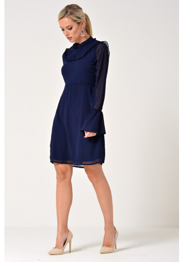 546cb197da Cindy Frill Sleeve A-LIne Dress in Navy ...