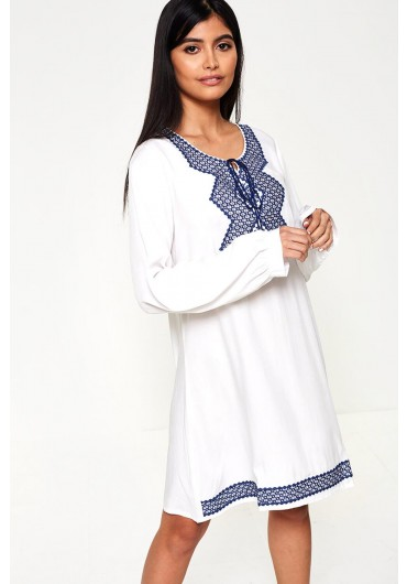 1229db303189 Blake Embroidered Tunic Dress in White ...