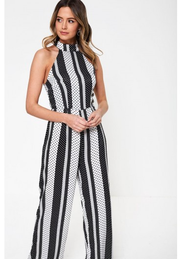 671d1b3b926 Kady Stripe Spot Sleeveless Jumsuit in Black ...
