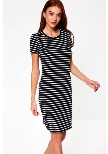 5ca391795670c Summer Striped Dress in Black ...