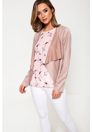 0cebf663f2a ... Judy Suede Waterfall Jacket in Rose Taupe