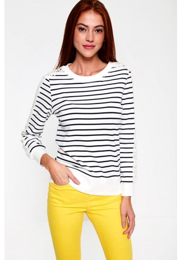 597796a188d22 ... Gertrud Sweater with Crochet Detail in Stripe