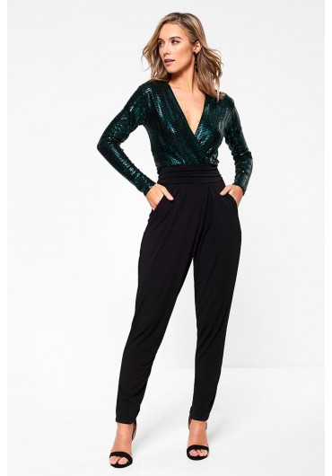 3ac8a3942c7a ... Jess V Neck Long Sleeve Jumpsuit in Green Sequin