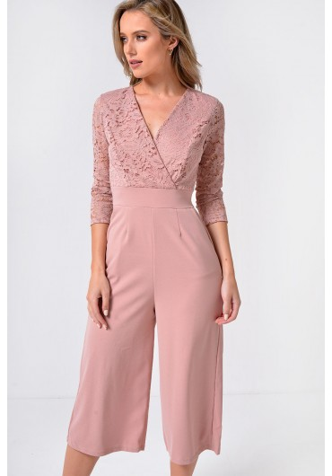 b6038a1d34f4 Madrid Plunge Culotte Jumpsuit with Lace Detail in Blush ...