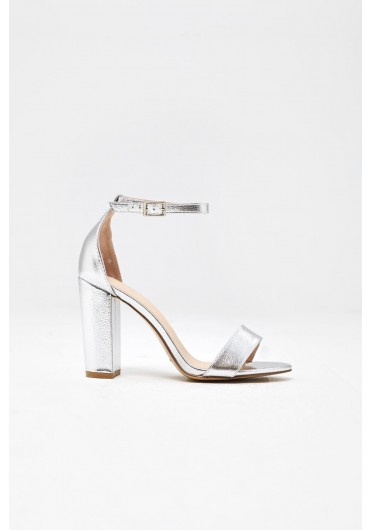 e77c1395b459 ... Elena Block Heel Sandals in Metallic Silver