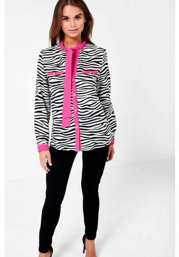 ff4f4c28 Zebra Print Neck Tie Top in Black ...