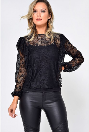 2e6dee958 Lilja L/S Lace Ruffle Top in Black