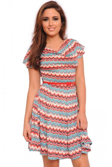 598f51e49c2a51 Chevron print dress in a skater style featuring a nipped in waist and cowl  neck detailing. The print   shape is packed with body-enhancing superpowers!