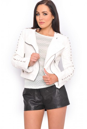 c5914b6173 The leather jacket is a wardrobe must have and this collarless white faux  leather jacket