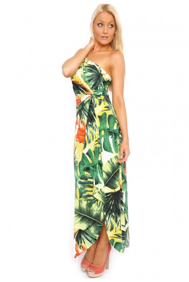 0a35b19622 Candy One Shoulder Floral Maxi Dress in Green