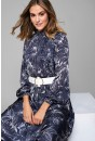 Lucille Silky Belted Dress in Navy