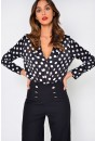 Lillian Polka Dot Bodysuit in Black