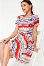 Bina Retro Button Dress in White Print