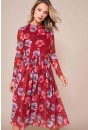 Irvette Pleated Midi Dress in Red Floral Print