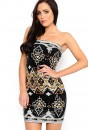 Jasmin Bandeau Sequin Dress in Black and White